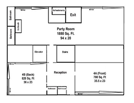 Space rental nyc for rehearsal space auditions and photo for Photography studio floor plans